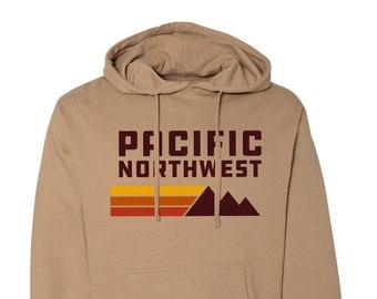 PNW Hoodie, Pacific Northwest Hoodie, Retro, Pullover Hoodie, Hiking Hoodie