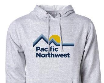 PNW Hoodie, Pacific Northwest Hoodie, Retro, Pullover Hoodie, PNW Sunrise