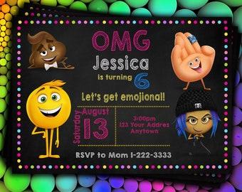 Emoji Movie Invitation Birthday Digital File Personalize 300 Dpi
