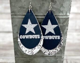 7c4bce2eae3483 Dallas Cowboys Teardrop Leather Earrings