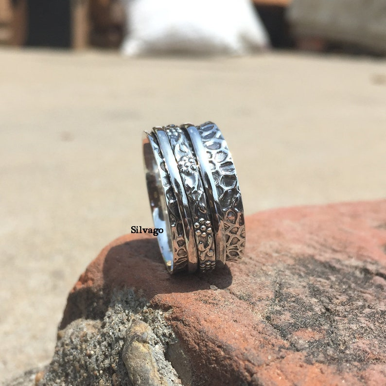 Fidget Ring Three Band Ring Designer Ring Anxiety Ring Bohemian Ring 925 Silver Ring Handmade Ring Meditation Ring Spinner Ring