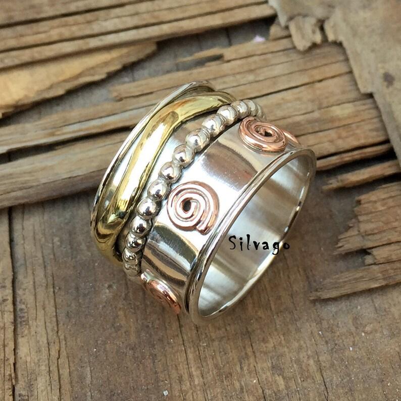 Thumb Ring Tiny Spinner Ring 925 Silver Ring Anxiety Ring Handmade Ring Spinner Ring Women Spinner Ring Worry Ring Meditation Ring