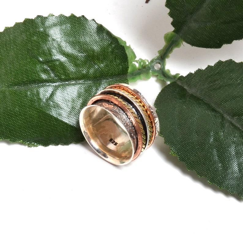 Spinner Ring Handmade Ring Texture Spinner Ring Thumb Ring Three Tone Ring Meditation Ring Five Band Ring Spinning Ring Anxiety Ring