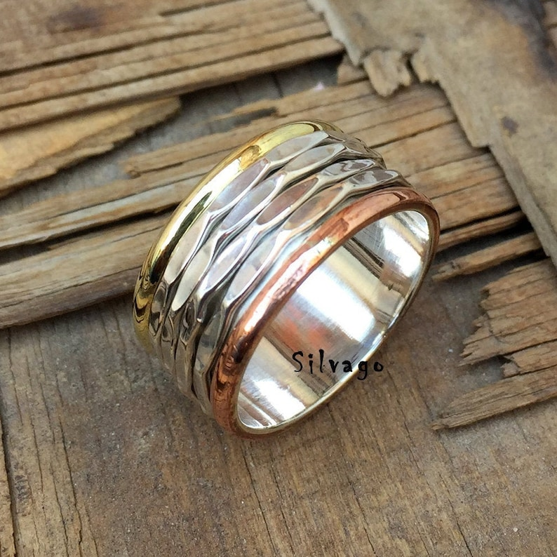 Gift For Her Designer Ring Meditation Ring Fidget Ring Bohemian Ring Anxiety Ring Spinner Ring Four Bend Ring Plain Silver Ring