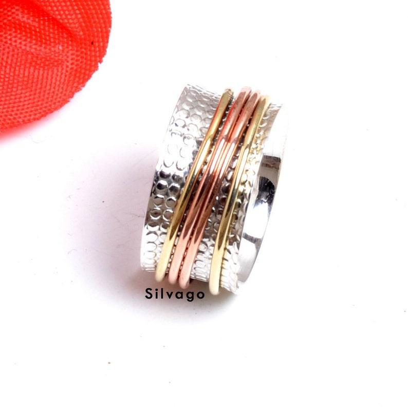 Christmas Gift Plain Silver Ring Four Band  Ring Spinner Ring Anxiety Ring,Woman Ring Vintage  Ring Three Tone Ring Bohemian Ring