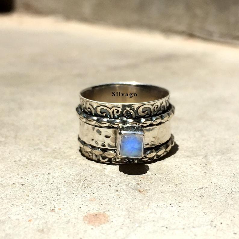 Gift For Her, Fidget Ring Plain Silver Ring Designer Ring Moonstone Ring Bohemian Ring Meditation Ring Spinner Ring Anxiety Ring