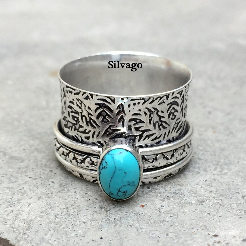 Designer Ring Gemstone Ring Anxiety Ring Meditation Ring Bohemian Ring Gift For Her Fidget Ring Turquoise ring Spinner Ring