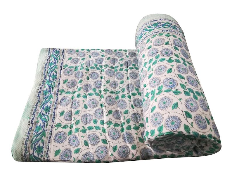 Quilt Block Handmade Blanket Throw Blanket Quilt Boho Blanket Indian Hand Block Print Kantha Quilt