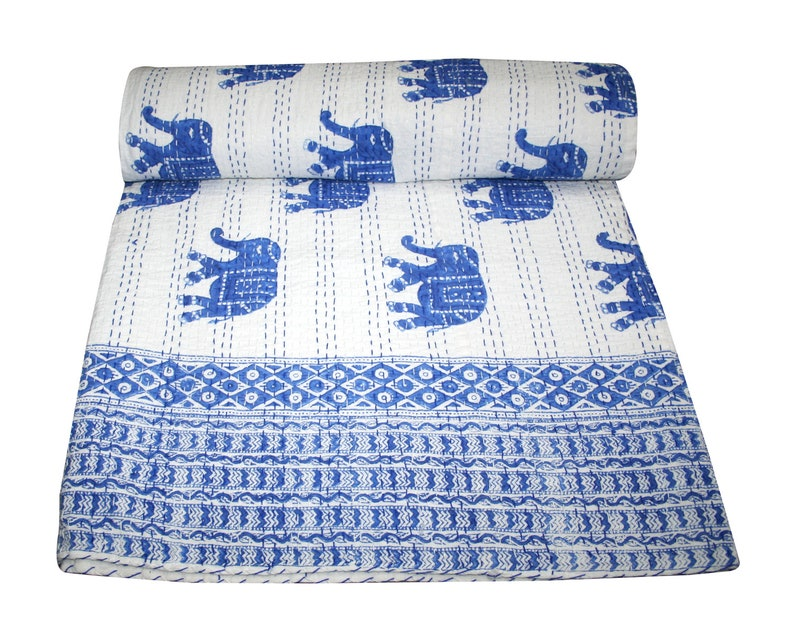 New Indian Kantha Quilt Kantha Bed Cover Kantha Soft Cover Bedding Blanket Home Decor
