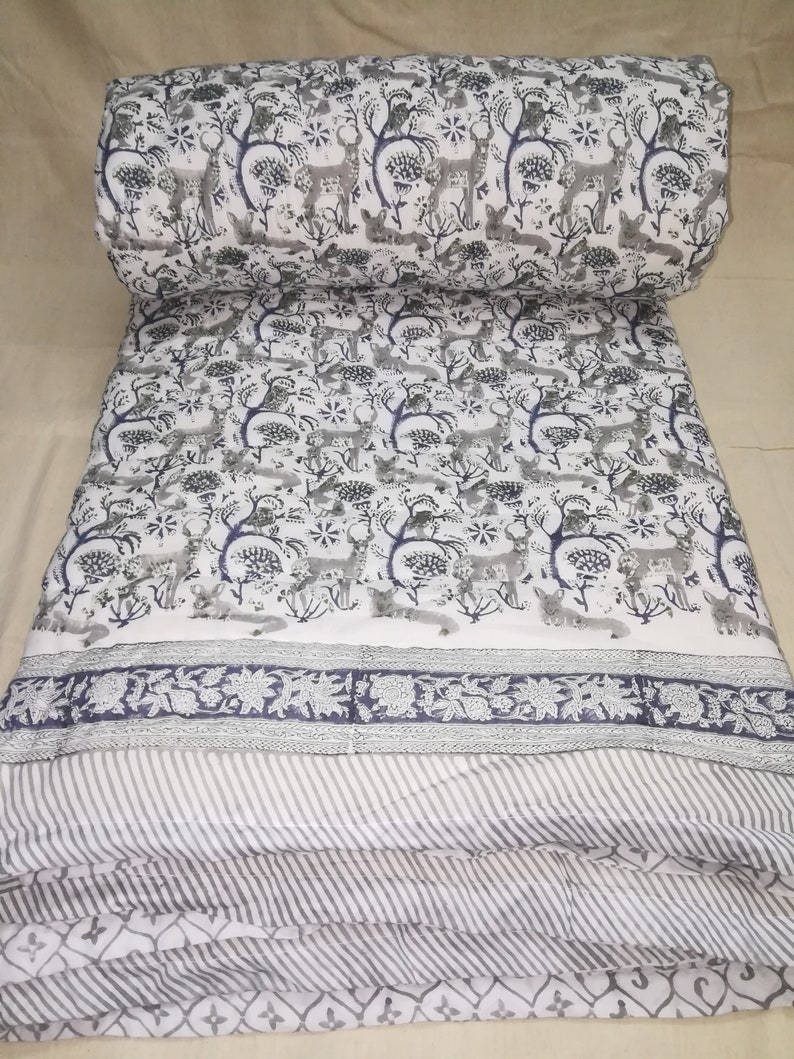 Indian Cotton Elephant Print Jaipur Rajai Bedspread Quilt Blanket Queen Coverlet