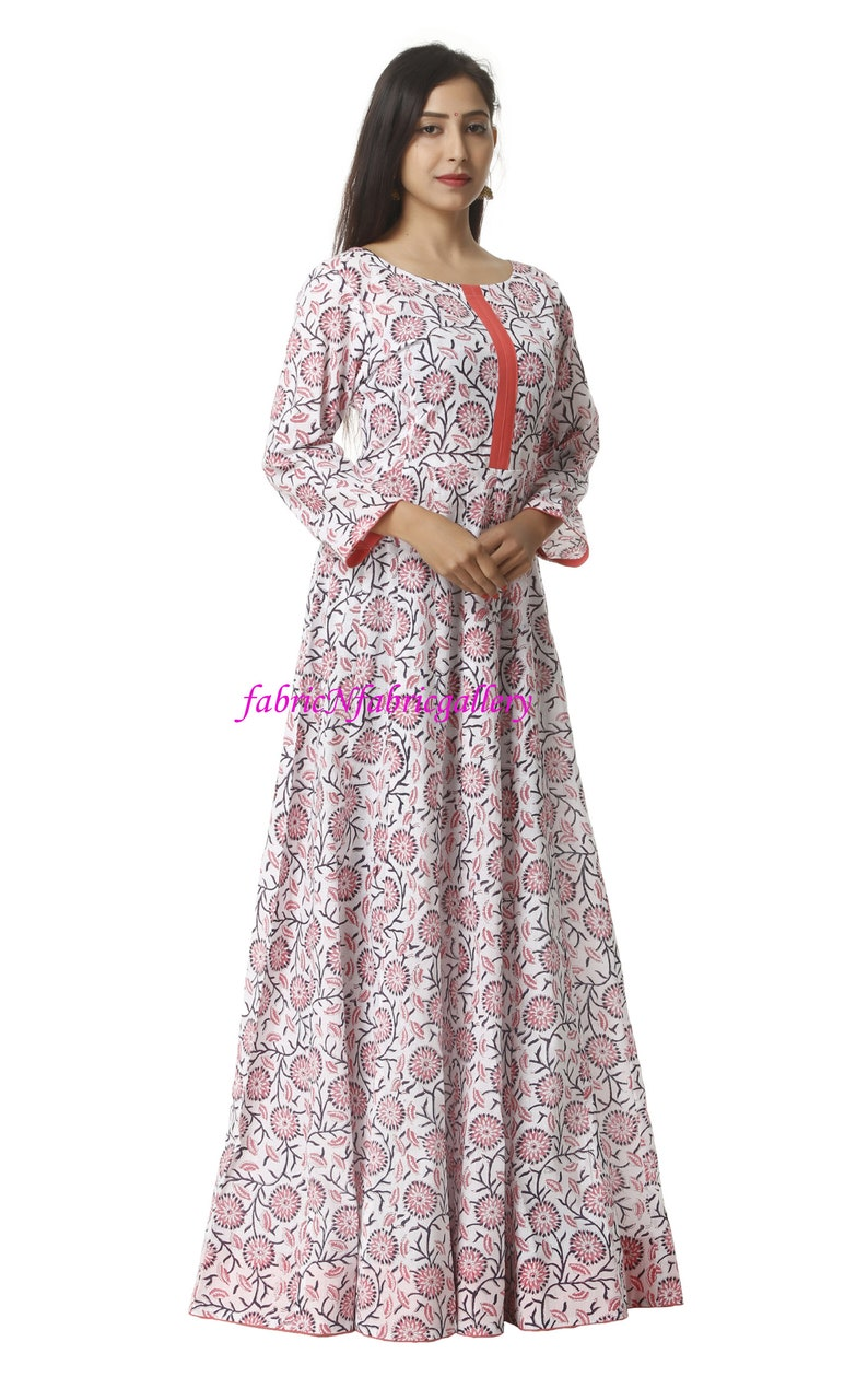 3d7136161f5 Cotton Dress Women s Gown Dress Hand Printed Floor Gown