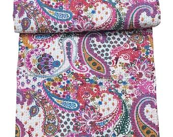 King US Handmade Paisley Print Kantha Quilt Indian Vintage Kantha Throw Cotton Blanket Bedspread Kantha Bed Cover