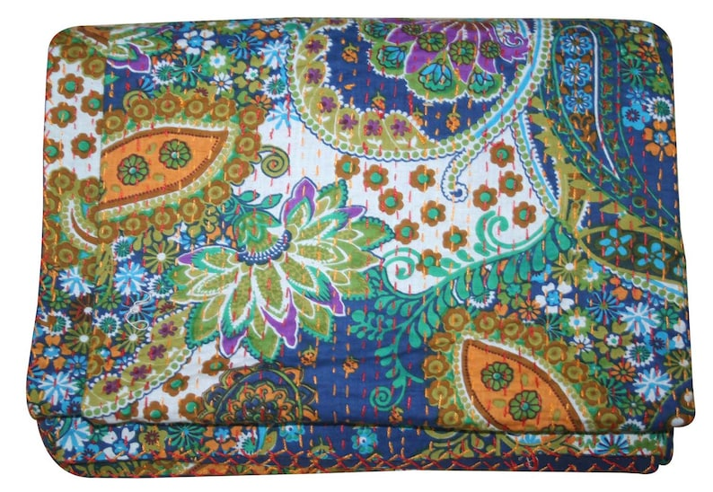 Indian Kantha Quilt Blue Paisley Reversible Bedspread Twin Blanket Throw Sofa Cover Bed Cover Kantha Bedspread