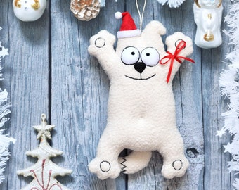 Funny Dog Handmade Stuffed Animal White Dog Cute Puppy Dog in a Santa Hat  Home Decor Doggie Cuddly Toys Soft Toys Plushies Christmas Gifts b97d84cff0ce