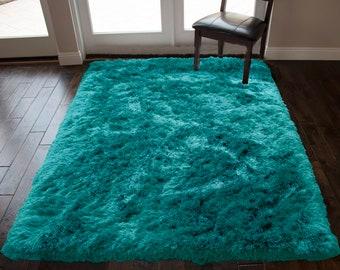 Turquoise Shag Rug Etsy