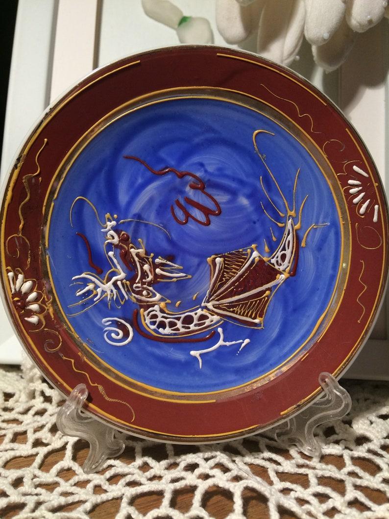 Dragon ware / Lithophane / GEISHA GIRL / Moriage Mini Cup saucer / Vintage  / Vintage Dishes / Antique Plate / Collectibles / Cup & Saucer