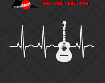 4bd68d57 Acoustic Guitar Heartbeat Svg Pdf Png Dxf, Cut File Cricut Silhouette,  Print T-Shirt Design Vector Clipart