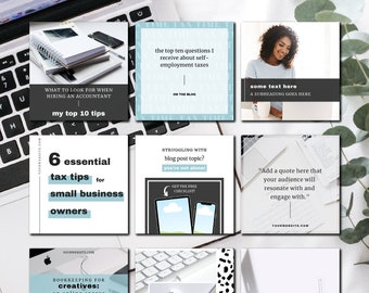 Accountant + Bookkeeper Social Media Templates for Canva + Photoshop   Modern IG Templates for Virtual CPAs and Accountants   Instagram