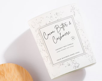 Simple + Clean Candle Label Template   Minimal Aesthetic   Editable Design Canva Templates for Coconut Soy Natural Candles Packaging