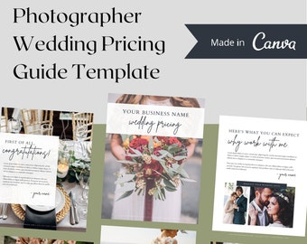Wedding Photographer Pricing Guide Canva Template   Photography Pricing Guide for Wedding Packages   Photog Pricing Guide Template