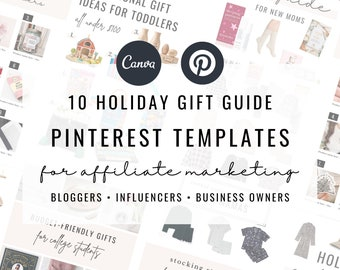 Holiday Gift Guide Templates for Canva   Pinterest Gift Guide Templates for Bloggers + Influencers Affiliate Marketing Roundup Post Graphics