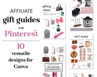Affiliate Gift Guide Templates for Canva   Canva Gift Guide Templates for Bloggers + Influencers   Affiliate Marketing Gift Guide Templates