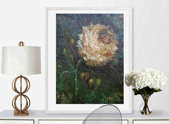 Rose oil painting Artwork on Canvas Original abstract for modern or classic interior Dark painting Wall art Living room decor 20*16 inch