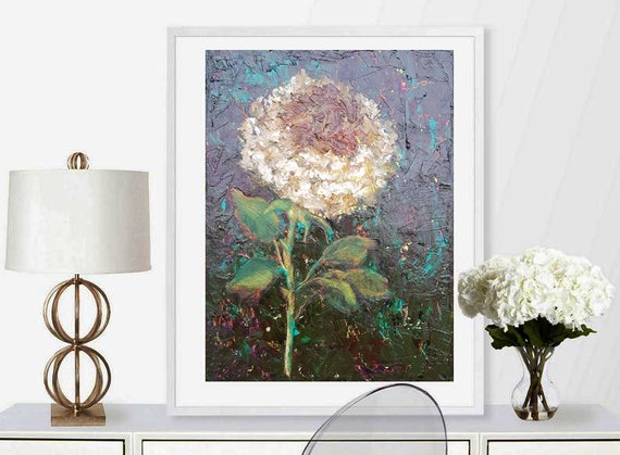Rose oil painting Artwork on Canvas Original abstract for modern or classic interior Dark painting Wall art Living room decor 20*16 inches