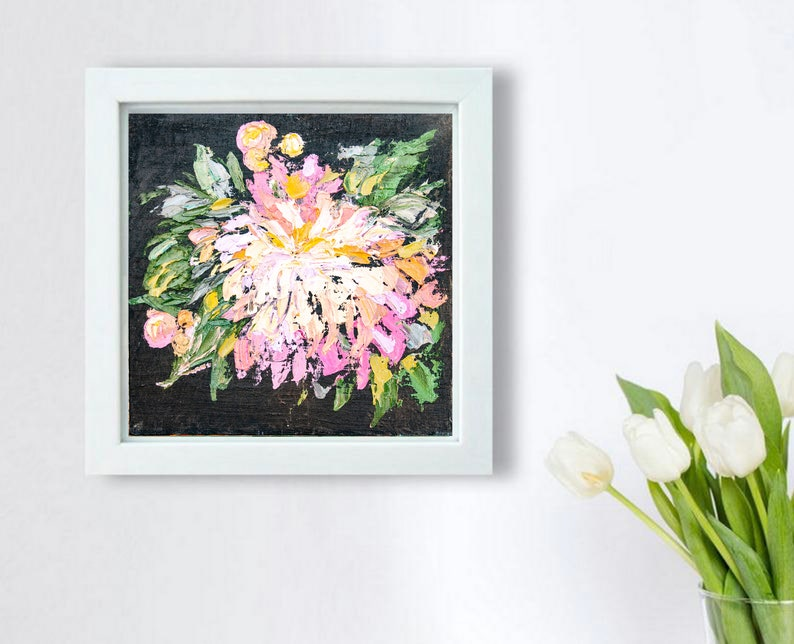 Peony Painting Original Art Impasto Floral Painting Textured Bold Painting Flower on Dark Background Flower Wall Art size 16 by 16 inches