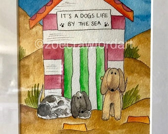 Personalised 2 dog print - watercolour giclée print - mounted & option to frame. Finished with Your dogs colours and names!