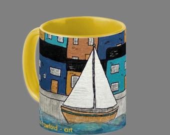 SAILING SCENE BLUE - mug, boat, yacht, sea, sailing, beach, seaside