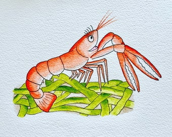 The Happy Langoustine..... watercolour giclée limited edition print - hand drawn and painted, mounted, lobster, Langoustine, seafood
