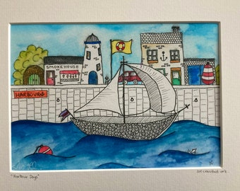 Harbour Days - watercolour giclée limited edition print - hand drawn and painted, mounted, boat, sailing