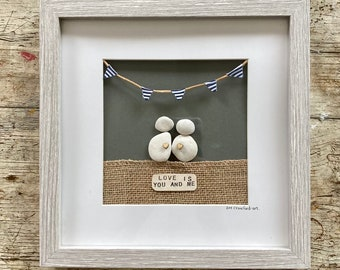 LOVE IS You and Me - pebble hand crafted picture with bunting, gift, birthday, anniversary, wedding, Valentine. Names can be added