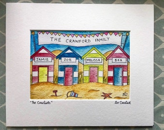 Personalised family beach hut print - mounted or framed watercolour giclée print - mounted & framed. Finished with your family/pets names