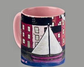 SAILING SCENE PINK - mug, boat, yacht, sea, sailing, beach, seaside
