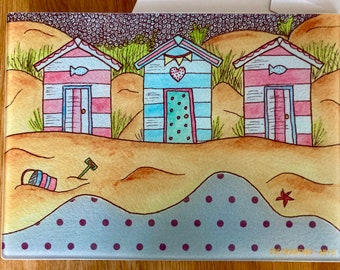 SUMMER DAYS - beach huts, large glass chopping board/surface protector