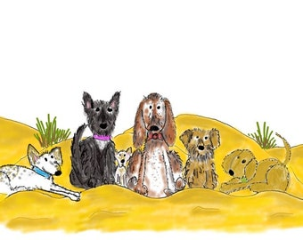 Print- 'BEACH PARTY' watercolour - hand drawn and painted, mounted, dog, quirky art, dogs on the beach