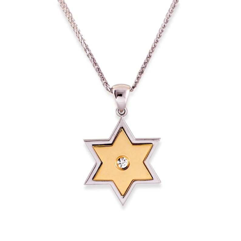 Dainty Star of David Diamond Necklace Jewish Symbol Magen David Charm Modern Magen David Hannkkah gift Bat mitzvah two side Pendant