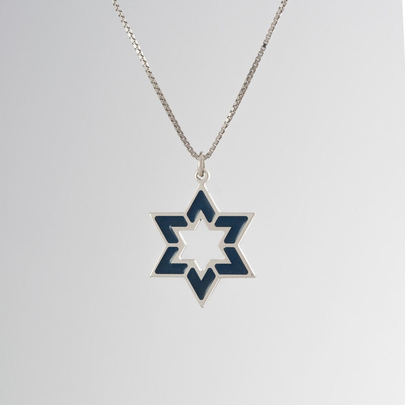 14K Two Tone Gold Inspirational Star of David With Chai Circle Charm Pendant
