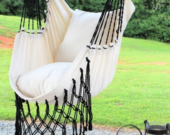 Brilliant Gray Macrame Hammock Chair 2 Pillow Set Boho Hammock Etsy Pabps2019 Chair Design Images Pabps2019Com