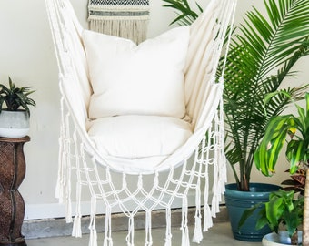 Natural Off White Macrame Hammock Swing Chair + 2 Pillow SET : Boho Cotton  Canvas Indoor U0026 Outdoor Hanging Chair
