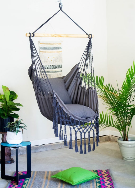 Wondrous Gray Macrame Hammock Chair 2 Pillow Set Boho Hammock Cotton Canvas Hammock Indoor And Outdoor Hanging Chair Macrame Swing Chair Pabps2019 Chair Design Images Pabps2019Com