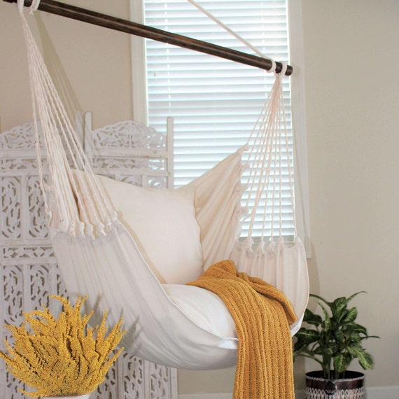 Natural Off White Hammock Chair Cotton Canvas Indoor Etsy