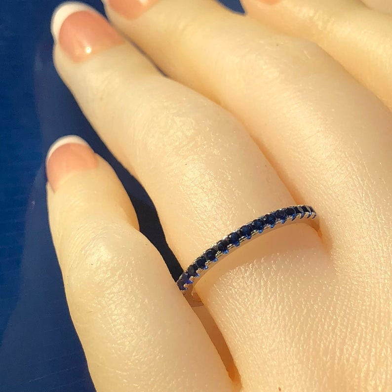 Matching Wedder half eternity band ring anniversary matching ring Wedding Ring Blue Sapphire: Matching band simulated Blue Sapphire