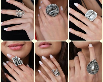 Antique Bohemian Greek Style Hammered Ring Accessory Christmas Gifts For Her Leaf Spiral Flowered Key Figured Silver Adjustable Ring