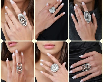 Large Multi Circle Ring Large Circle Ring Valentine/'s Day Ethnic Jewelry Gift For Her Cool Leaf Ring Modern Ring Design Trend Jewelry