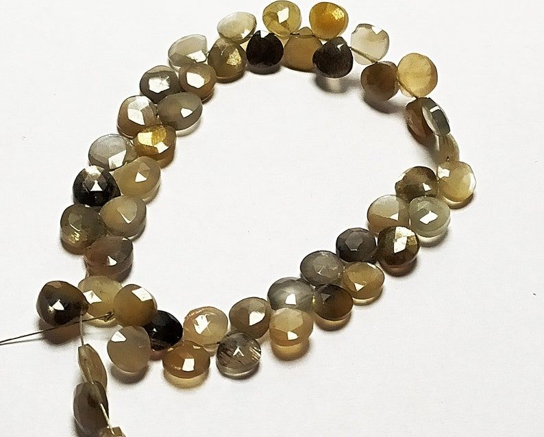 24 pcs Natural grey Moon stone 5.5-6 mm briolette faceted hearts 4 inch strand-AAA+