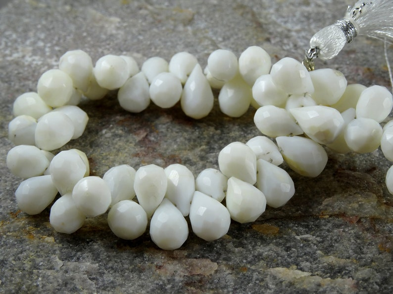 Natural  8-9 mm White Coral Faceted Drop 32 pcs full 4 inch strand