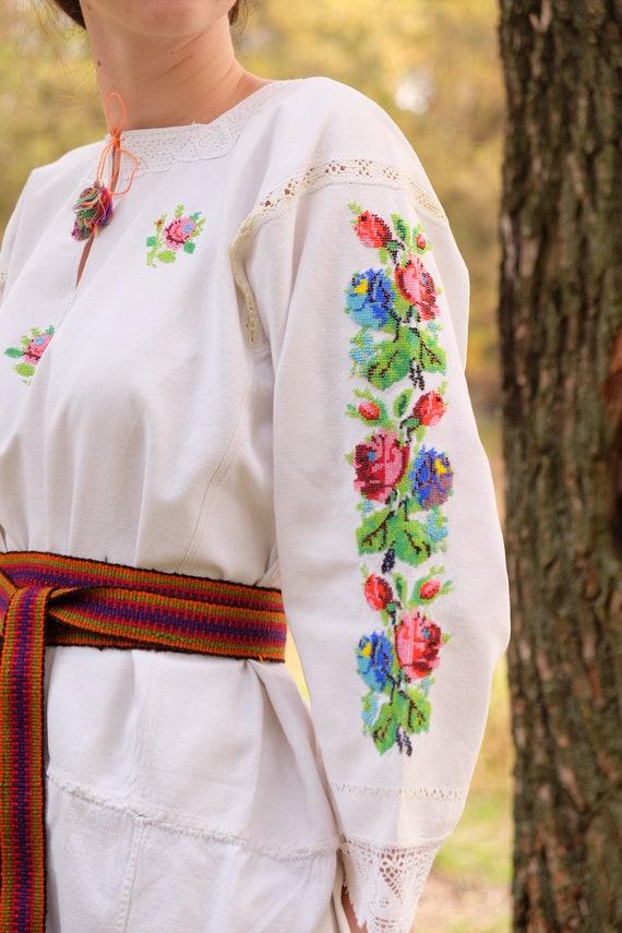 BEADWORK on linen dress! Pure linen homespun dres… - image 4